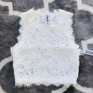 ⭐️ Design Lab white crop embroidery top NWT SP